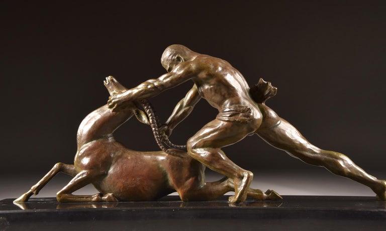 Ghanu Gantcheff, Sculpture, Bronze Art Deco Sculpture on Marble Basement For Sale 8