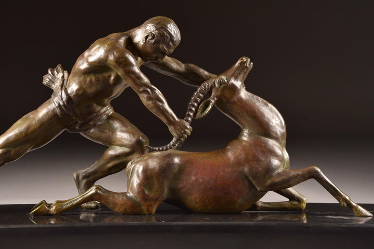 Beautiful Art Deco sculpture, created by Ghanu Gantcheff, Russian artist in France. He was specialised in people and animal figures.