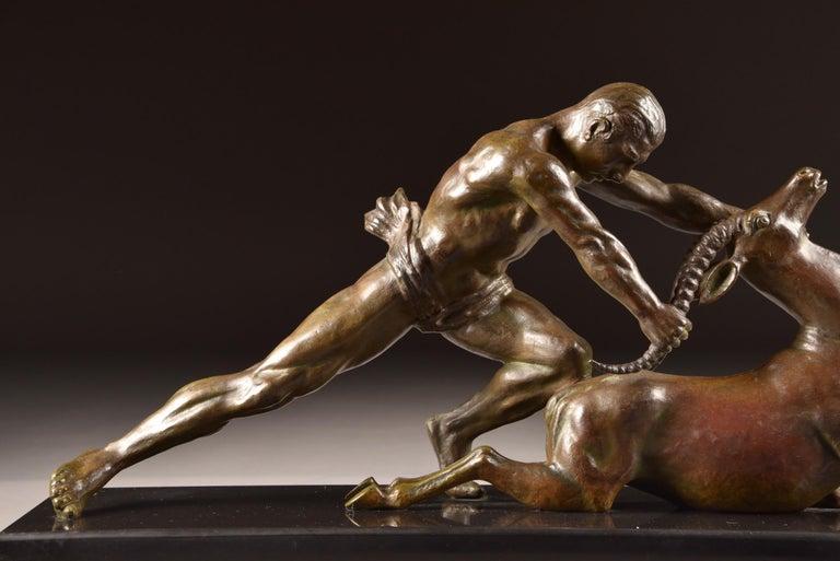 Art Nouveau Ghanu Gantcheff, Sculpture, Bronze Art Deco Sculpture on Marble Basement For Sale