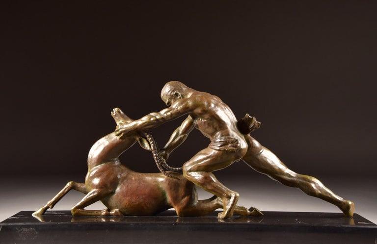 Ghanu Gantcheff, Sculpture, Bronze Art Deco Sculpture on Marble Basement In Good Condition For Sale In Ulestraten, Limburg