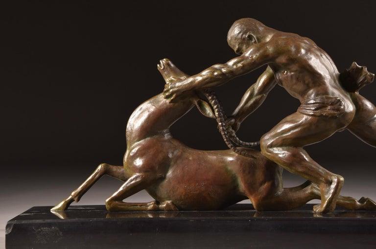 Ghanu Gantcheff, Sculpture, Bronze Art Deco Sculpture on Marble Basement For Sale 1