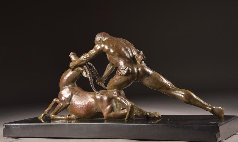Ghanu Gantcheff, Sculpture, Bronze Art Deco Sculpture on Marble Basement For Sale 3