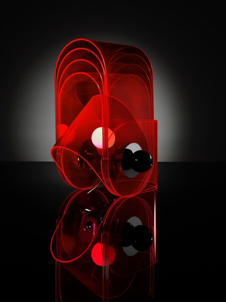 Italian Gherpe Lamps by Superstudio, Italy 'White + Red' For Sale