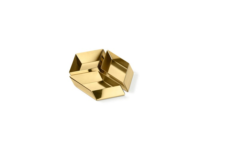 Modern Ghidini 1961 Axonometry Small Cube Tray in Brass by Elisa Giovanni For Sale