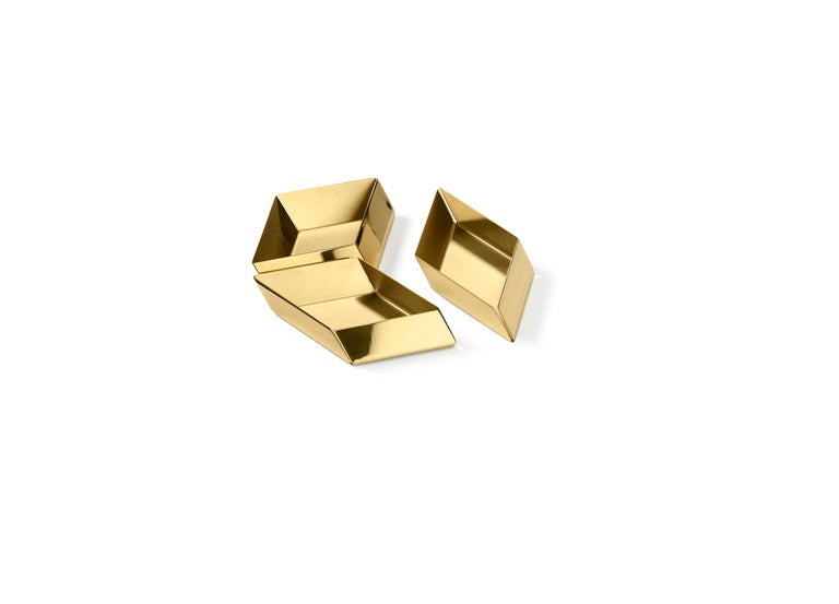 Italian Ghidini 1961 Axonometry Small Cube Tray in Brass by Elisa Giovanni For Sale