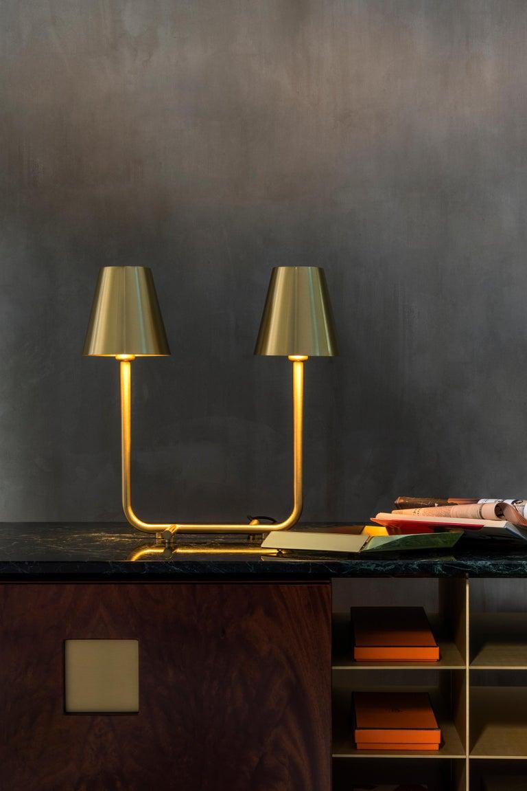 Italian Ghidini 1961 Bio Table Lamp in Satin Brass by Aldo Cibic For Sale