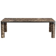 Ghidini 1961 Bold Large Table in Emperador Marble Top & Black Gold, E.Giovannoni