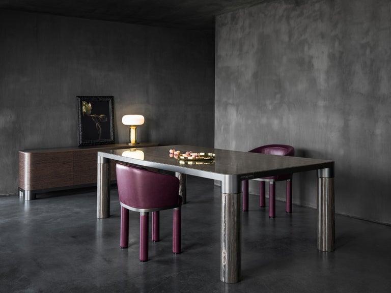 Ghidini 1961 Bold Small Table in Eramosa Marble Top & Black Gold by E.Giovannoni For Sale 4