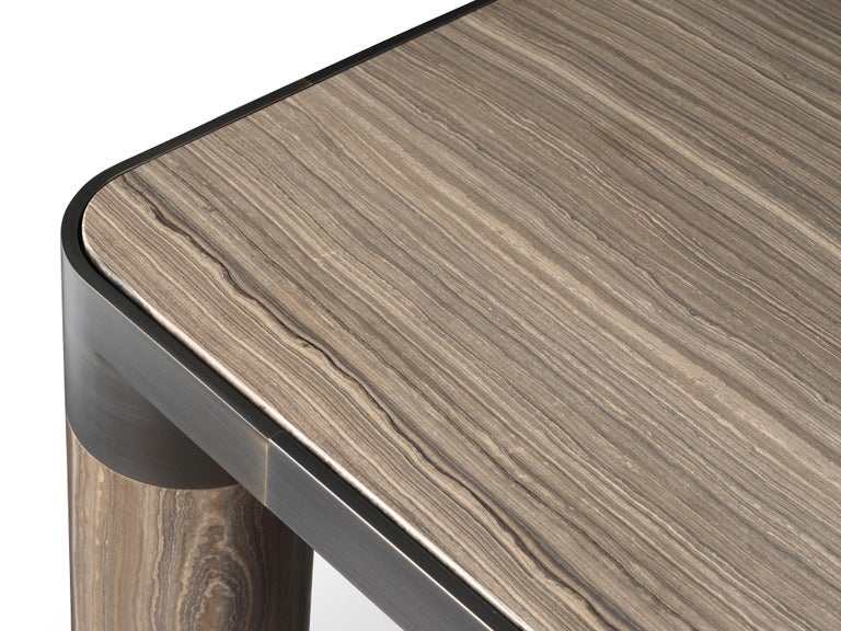 Ghidini 1961 Bold Small Table in Eramosa Marble Top & Black Gold by E.Giovannoni In New Condition For Sale In Villa Carcina, IT
