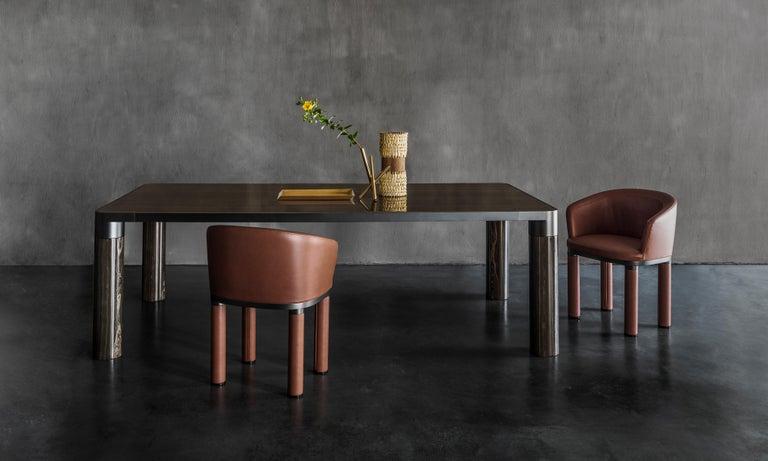 Contemporary Ghidini 1961 Bold Small Table in Eramosa Marble Top & Black Gold by E.Giovannoni For Sale