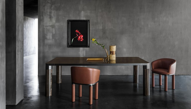 Ghidini 1961 Bold Small Table in Eramosa Marble Top & Black Gold by E.Giovannoni For Sale 1