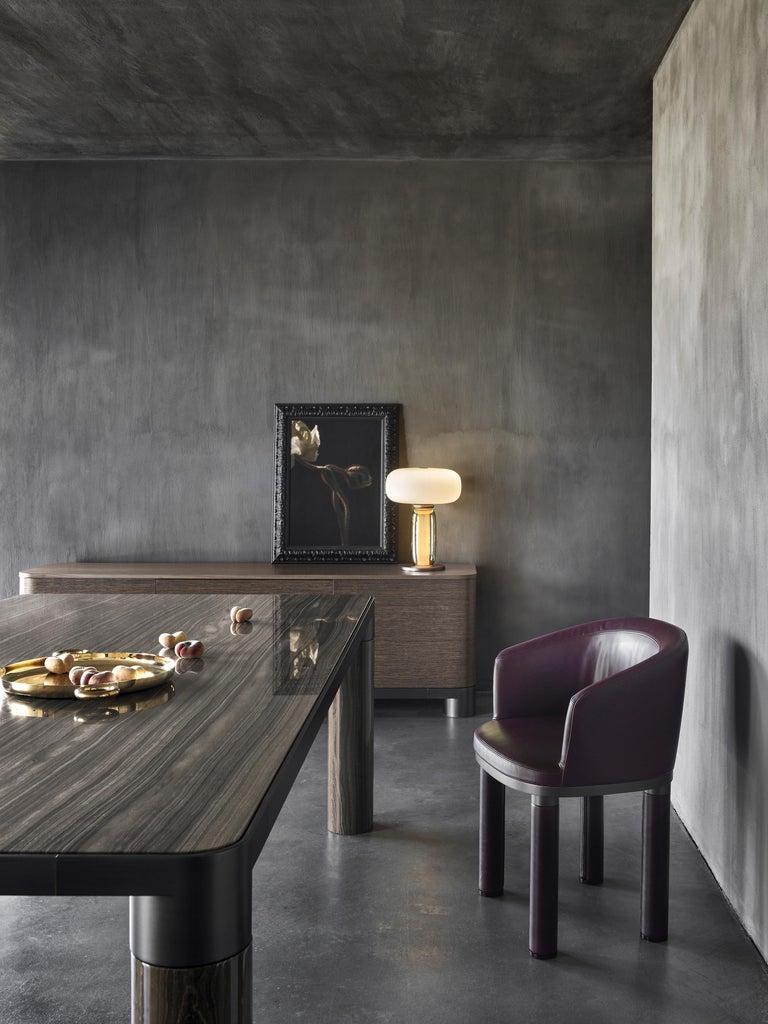 Ghidini 1961 Bold Small Table in Eramosa Marble Top & Black Gold by E.Giovannoni For Sale 2