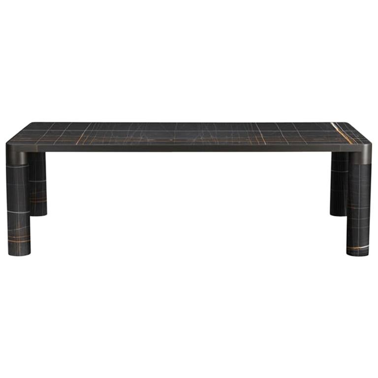 Ghidini 1961 Bold Small Table in Noir Marble Top and Black Gold, E.Giovannoni For Sale
