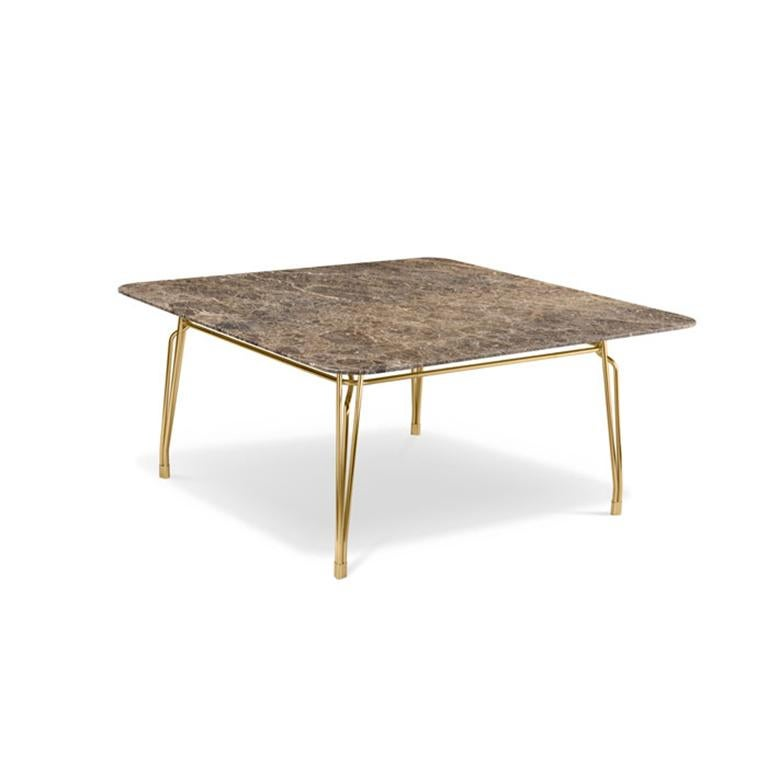 Family of tables characterized by the elegant sophisticated metal structure supporting the glass tabletop. Inspiration from turn of the century outdoor furniture meets modern high-quality metal crafting. Intricate weaving of steel rods creates a