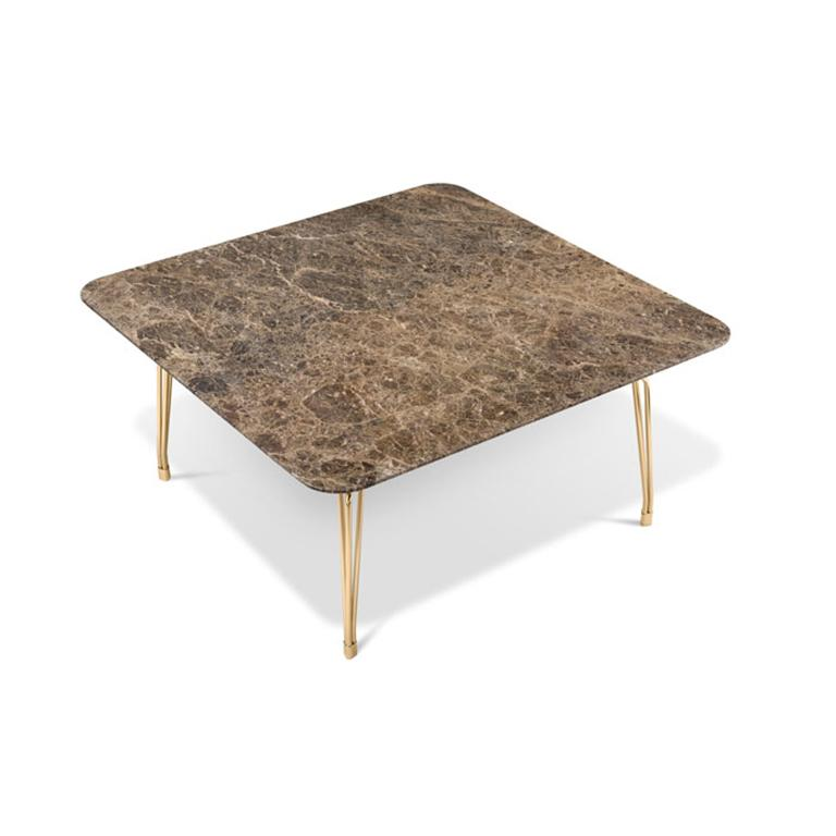 Modern Ghidini 1961 Botany Dining Table in Marble Top and Polished Brass, T. Rygalik For Sale