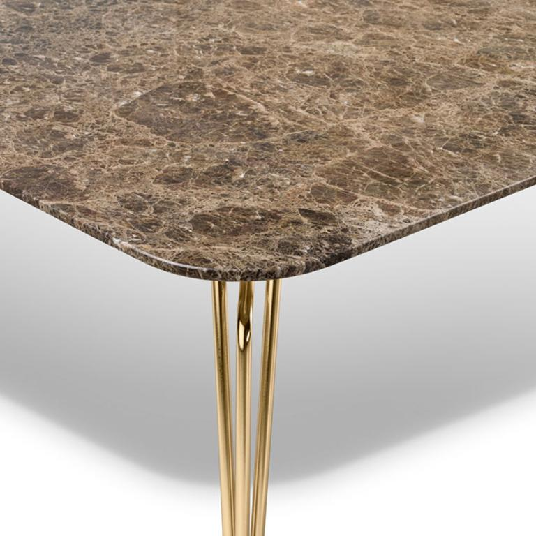 Italian Ghidini 1961 Botany Dining Table in Marble Top and Polished Brass, T. Rygalik For Sale