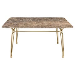 Ghidini 1961 Botany Dining Table in Marble Top and Polished Brass, T. Rygalik