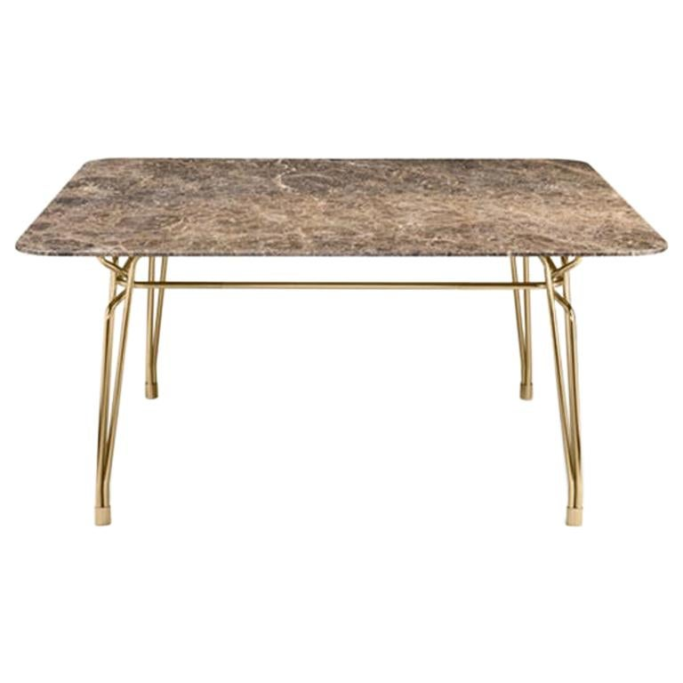 Ghidini 1961 Botany Dining Table in Marble Top and Polished Brass, T. Rygalik For Sale