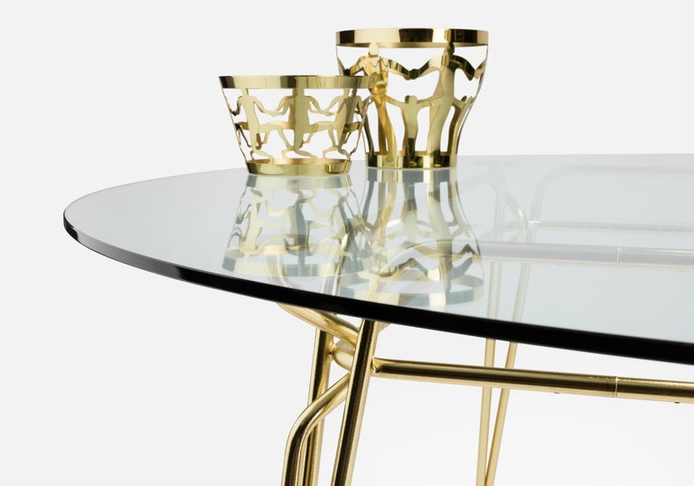 Modern Ghidini 1961 Cestino 2 Large Bowl in Polished Brass by Andrea Branzi For Sale