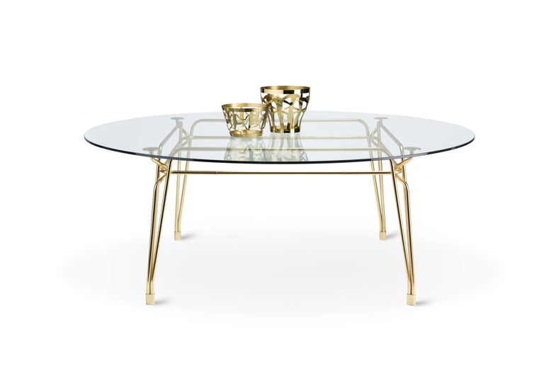 Contemporary Ghidini 1961 Cestino 2 Large Bowl in Polished Brass by Andrea Branzi For Sale