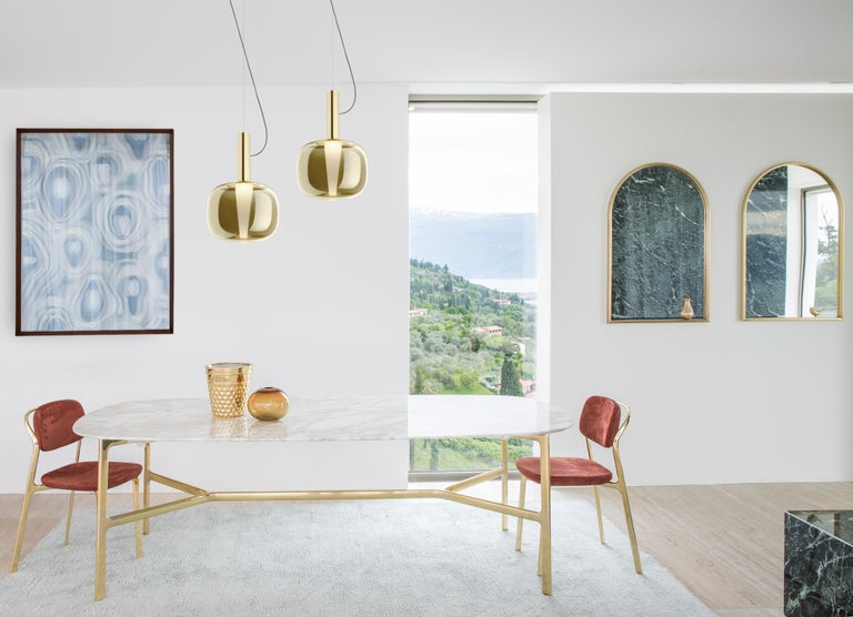 Contemporary Ghidini 1961 Dusk Dawn Pendant in Brass and Metallic Glass by Branch Creative For Sale