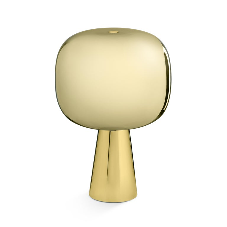 Ghidini 1961 Dusk Dawn Table Lamp in Brass and Metallic Glass by Branch In New Condition For Sale In Villa Carcina, IT