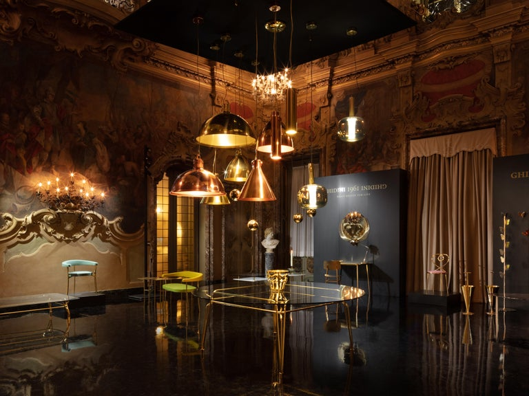 Contemporary Ghidini 1961 Factory Large Suspension Light in Copper by Elisa Giovanni For Sale