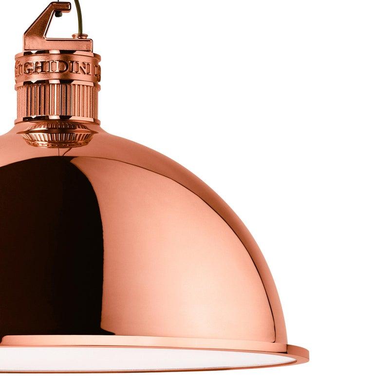 Italian Ghidini 1961 Factory Medium Suspension Light in Copper by Elisa Giovanni For Sale