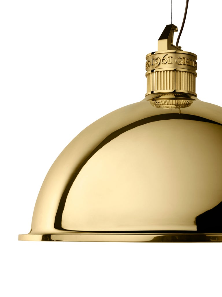 Italian Ghidini 1961 Factory Small Suspension Light in Brass by Elisa Giovanni For Sale