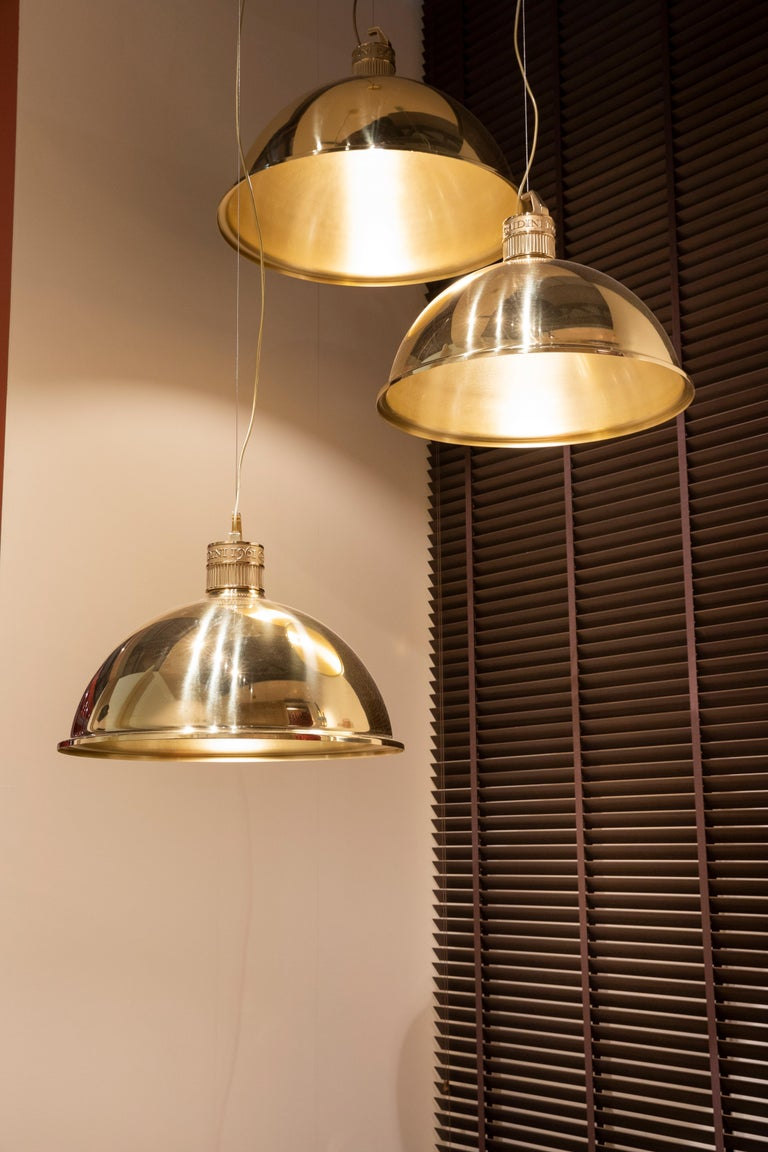 Contemporary Ghidini 1961 Factory Small Suspension Light in Brass by Elisa Giovanni For Sale