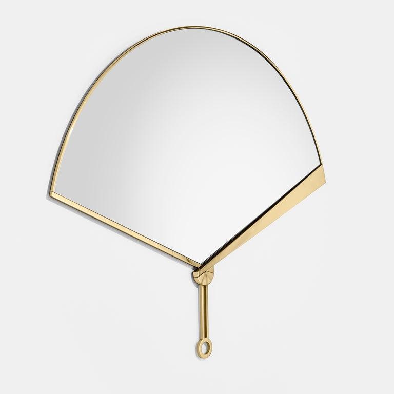 Ghidini 1961 fan mirror in brass by Tomek Rygalik  Materials: Brass.