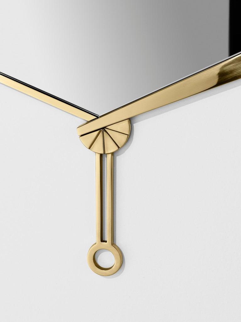 Modern Ghidini 1961 Fan Mirror in Brass by Studio ITO For Sale