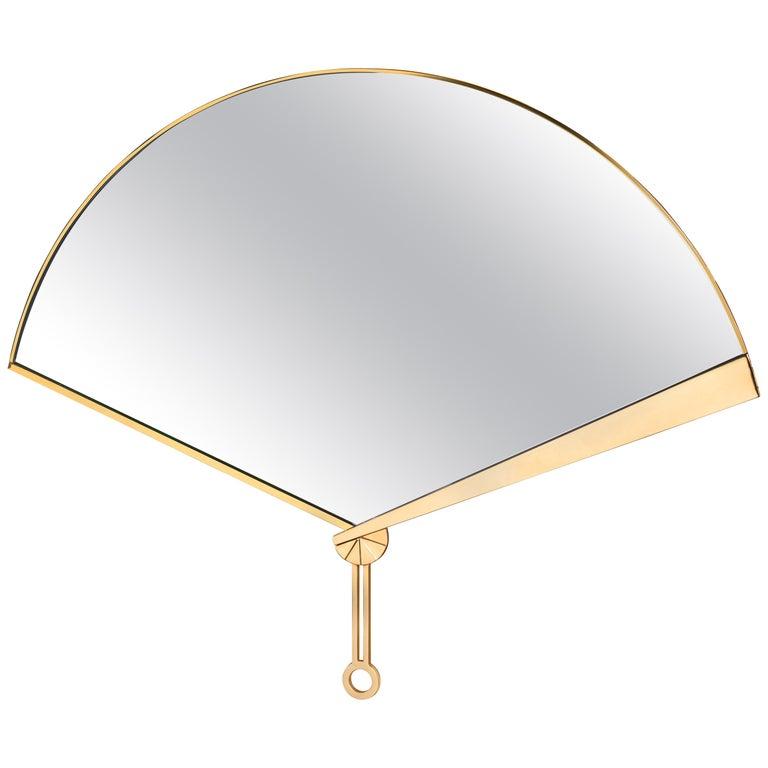 Ghidini 1961 Fan Mirror in Brass by Studio ITO For Sale