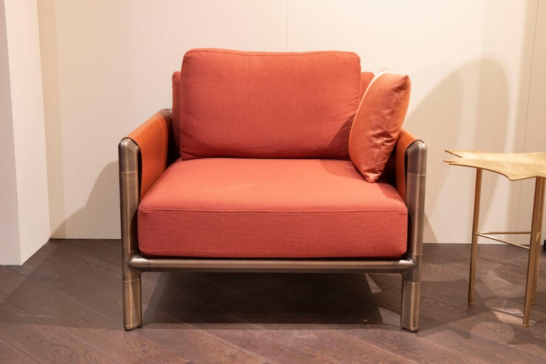 Ghidini 1961 Frame Armchair with Arms in Cuoio Leather by Stefano Giovannoni For Sale 5