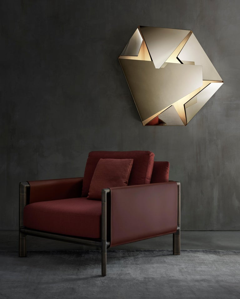 Contemporary Ghidini 1961 Frame Armchair with Arms in Cuoio Leather by Stefano Giovannoni For Sale