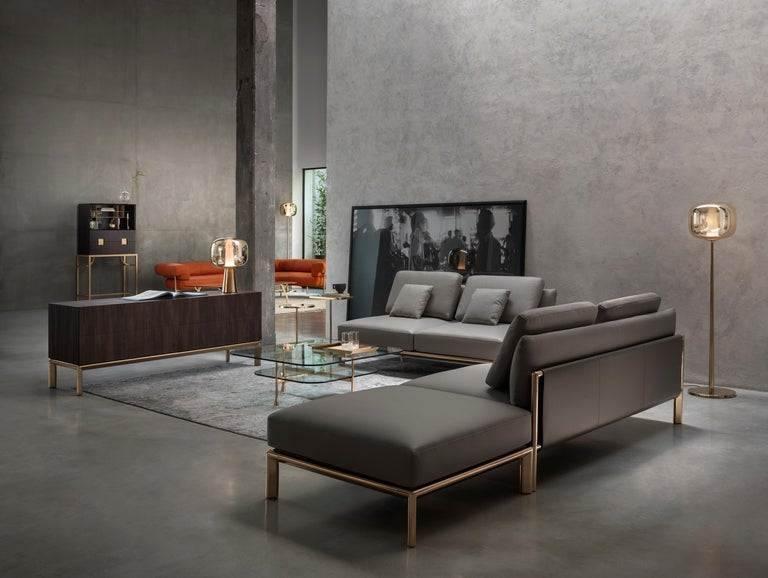 Italian Ghidini 1961 Frame Sofa in Cuoio Leather by Stefano Giovannoni For Sale