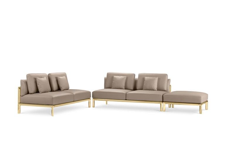 Fabric Ghidini 1961 Frame Sofa in Cuoio Leather by Stefano Giovannoni For Sale