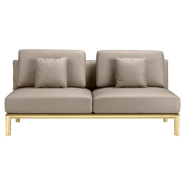 For Sale: Brown (Tortora) Ghidini 1961 Frame Sofa in Cuoio Leather by Stefano Giovannoni