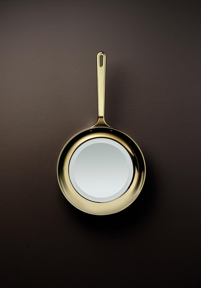 Modern Ghidini 1961 Frying Pan Mirror in Aluminum by Studio Job For Sale