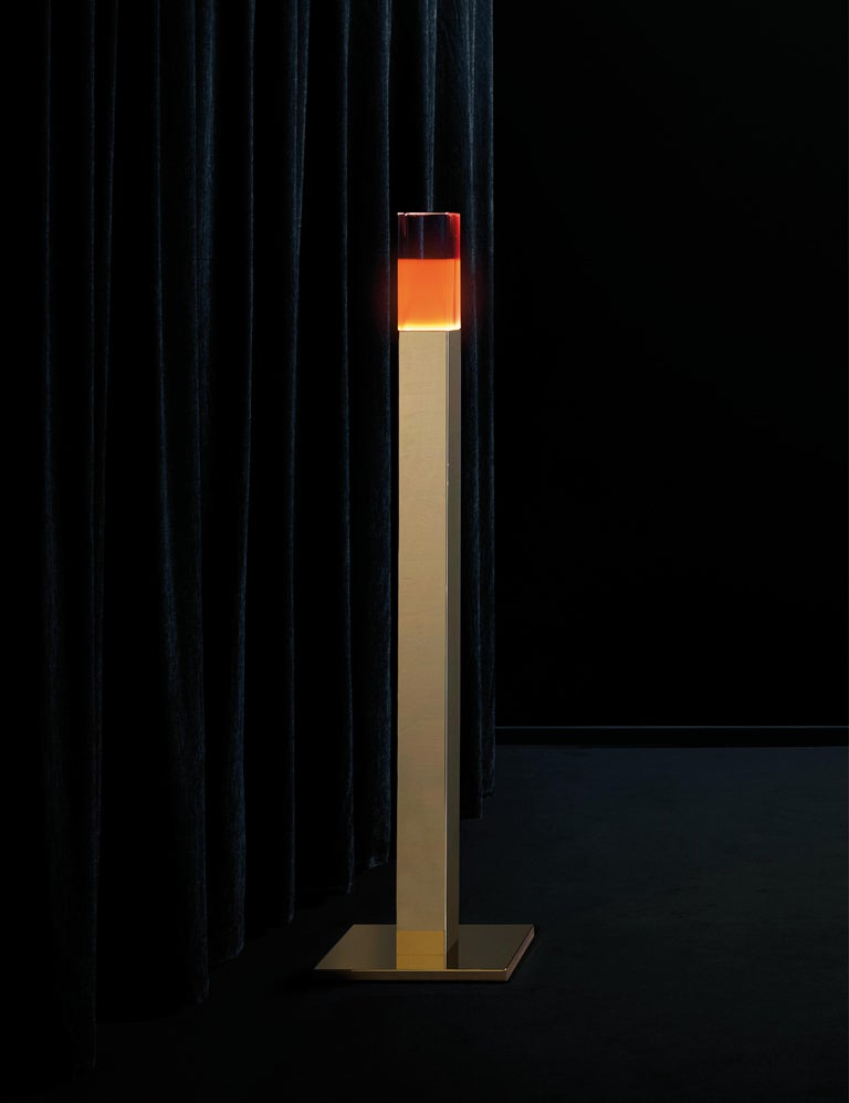 Modern Ghidini 1961 Giotto Floor Lamp in Stainless Steel & Plexiglass by Andrea Branzi For Sale