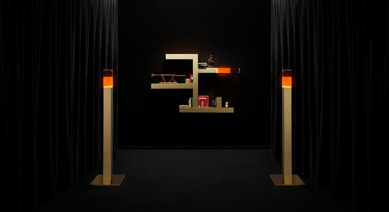 Italian Ghidini 1961 Giotto Floor Lamp in Stainless Steel & Plexiglass by Andrea Branzi For Sale
