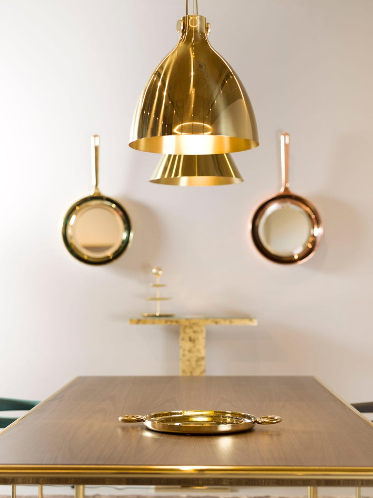 Ghidini 1961 Indi Round Pendant in Brass by Richard Hutten In New Condition For Sale In Villa Carcina, IT