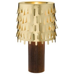 Ghidini 1961 Jackfruit Table Lamp in Brass and Wood by Campana Brothers