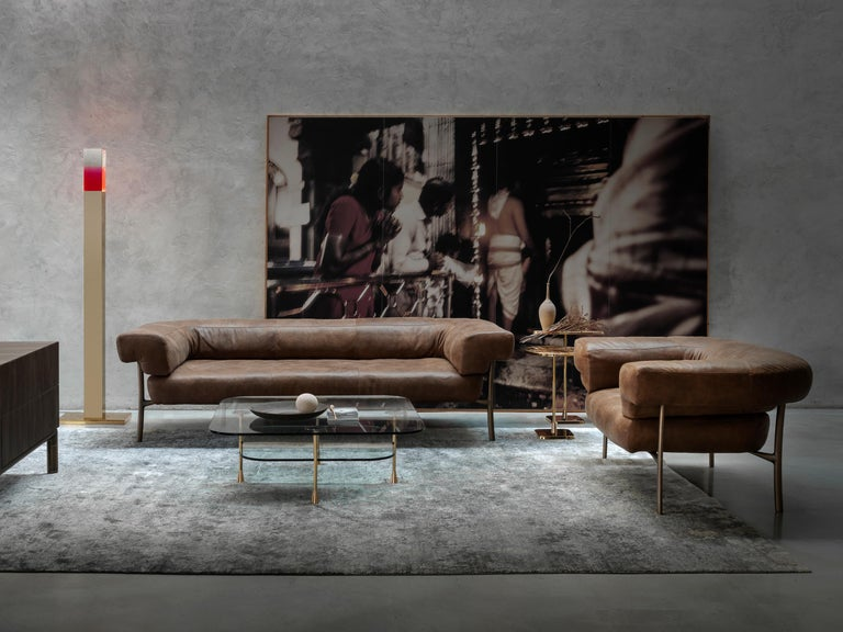 Modern Ghidini 1961 Katana Lounge Chair in Fabric and Satin Brass by Paolo Rizzatto For Sale