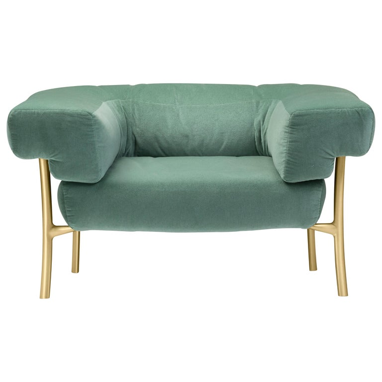 For Sale: Green (f-1241-c0931) Ghidini 1961 Katana Lounge Chair in Fabric and Satin Brass by Paolo Rizzatto