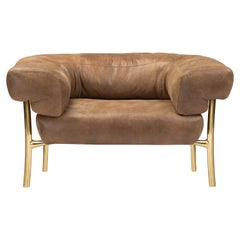 Ghidini 1961 Katana Lounge Chair in Leather & Polished Brass by Paolo Rizzatto