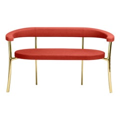 Ghidini1961 Katana bench in Fabric with Polished Brass Legs by Paolo Rizzatto