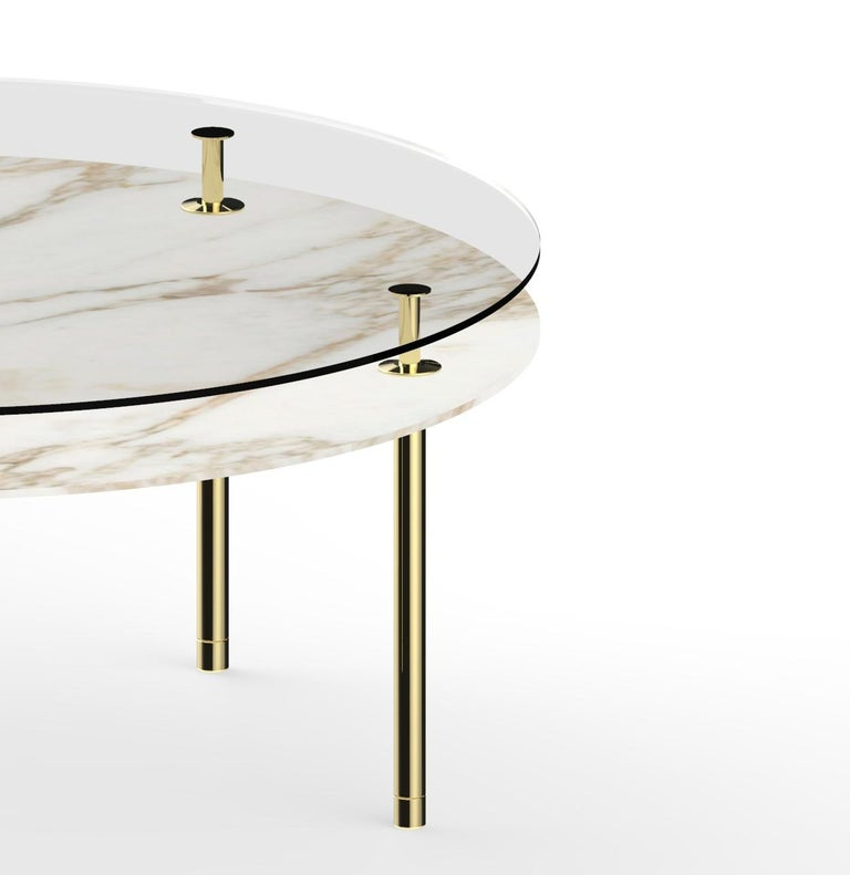 Modern Ghidini 1961 Large Legs Round Table in Calacatta Gold by Paolo Rizzatto For Sale