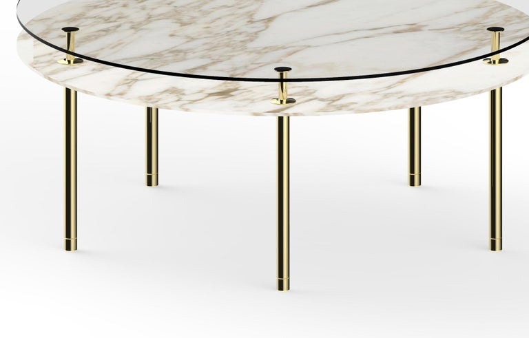 Italian Ghidini 1961 Large Legs Round Table in Calacatta Gold by Paolo Rizzatto For Sale