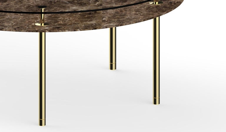 Italian Ghidini 1961 Large Legs Round Table in Emperador Dark by Paolo Rizzatto For Sale